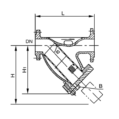 SRTⅢ异径正折流式T型过滤器 PN2.0 5.0MPa
